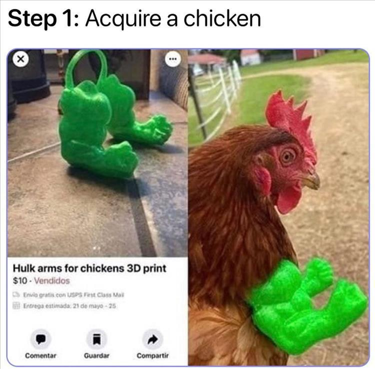 Hulk arms for chicken 3D print